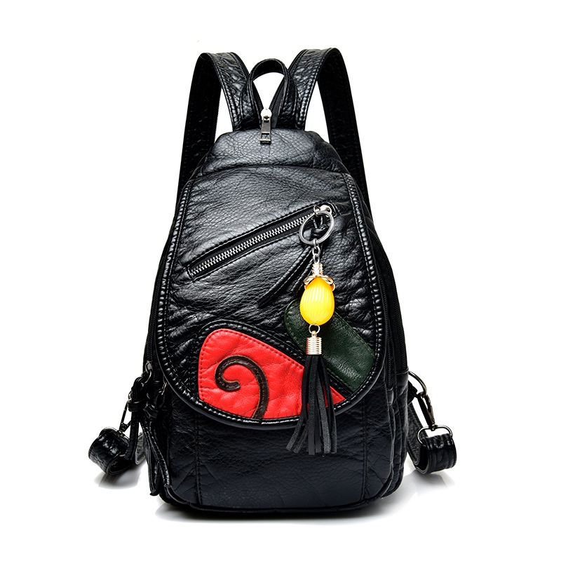 Chinese style fashion backpack Washed leather soft vintage crossbody bag tassel flower chest package cute black