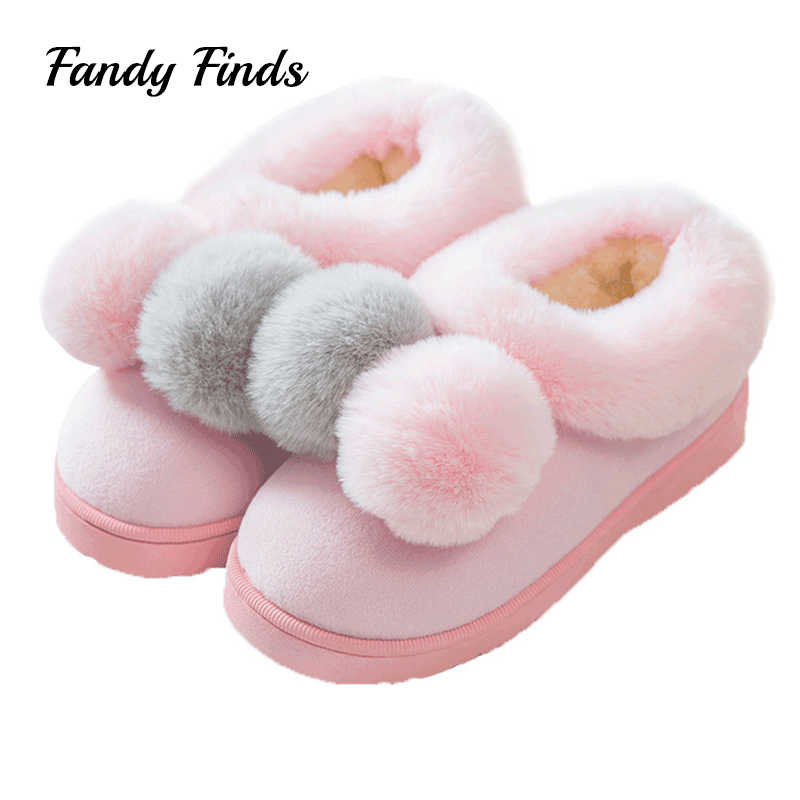d07bc25844f24 Fandy Finds Winter Shoes Women Plush Non-Slip Flat Sole PomPom Adult Ladies  Warm Home