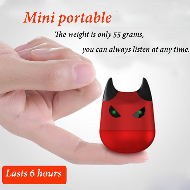 US $12 95 30% OFF|Portable Bluetooth Speaker with Microphone Phone Support  Selfie Cartoon Little Devil Voice Prompt Sub woofer Dust-in Portable