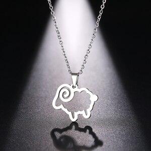 DOTIFI ожерелье из нержавеющей стали для женщин и мужчин, милый крест из овцы, золото и серебро, ожерелье с кулоном, ювелирные изделия для помол...