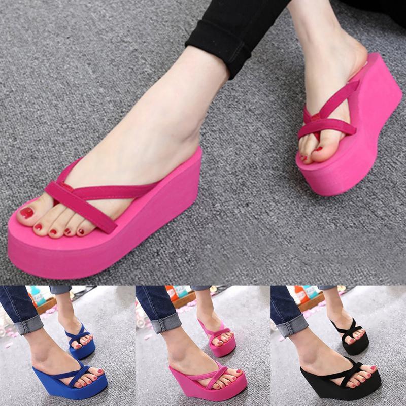 2d06c58590f54 Summer Sweet Women High Heel Flip Flops Slippers Wedge Platform Beach Home  Flat Slipper Female Sandals