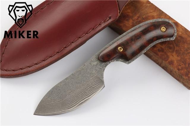 Main forgé Damas chasse couteau 58 HRC Acier Damas fixe couteau Serpent  manche en bois avec ee264a1a2ad