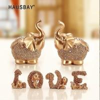 European Lucky Golden Elephant Ornaments Home Feng Shui Creative Crafts Creative Wedding Gifts Resin Lucky Elephant Statue 05391