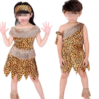 2017 Boys Girls African Original Indian Savage Costume Adults Kids Wild Cosplay Costumes Halloween Carnival Fancy