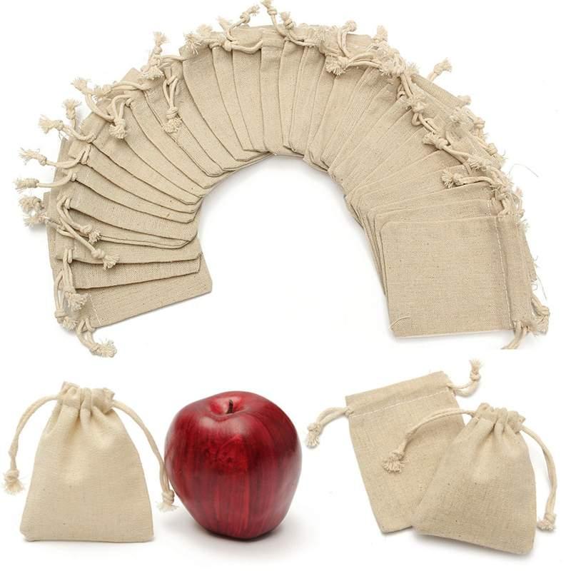 30Pcs/set Small Burlap  Natural Linen Jute Sack Drawstring Gift Bags Jewelry Pouch