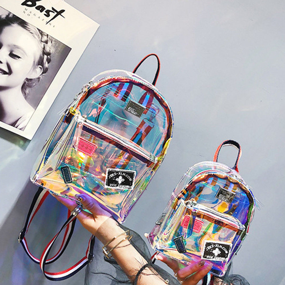2018 Fashion Colorful High Capacity Girl Clear Transparent See Through PVC Mini Backpack School Book Bag Women Backpack
