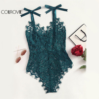 COLROVIE Ribbon Floral Lace Bodysuit Bow Tie Shoulder Women Green Cute Summer Bodysuits 2017 Sexy See