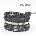 sale 5 mutilayer bracelet natural stone and agate beads with silver skull beaded genuine leather charm bracelets JBN-8866