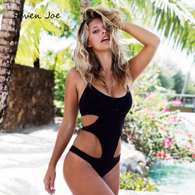 Seven Joe High Cut Out Vintage One Piece Bikini Swimsuit Moderate Coverage Sexy Backless Women Solid Color Beach Wear Swimwear fashionable strappy printed cut out one piece swimsuit for women