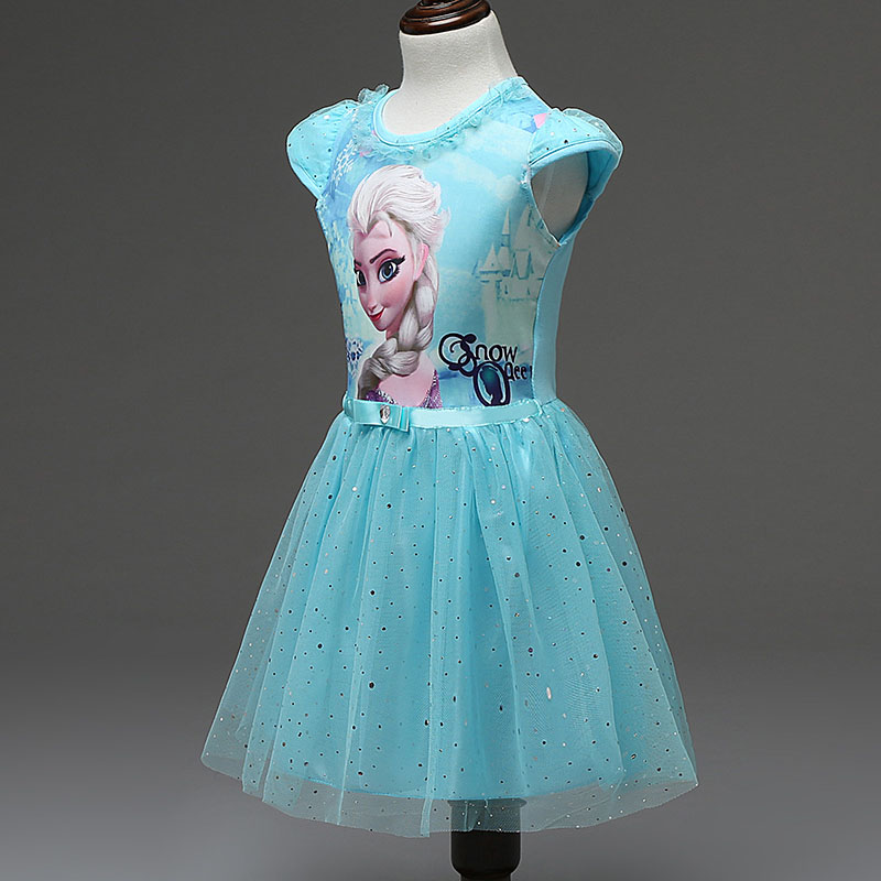 2016 Summer children's clothing girls dresses elsa princess dress for girl infant kids costume party baby snow Queen clothes