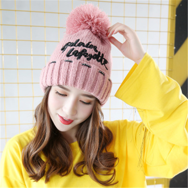 Balaclava Fox fur autumn and winter wool hat knitted hat Sphere letter labeling thick plush hot female head cap sleeve hat hood