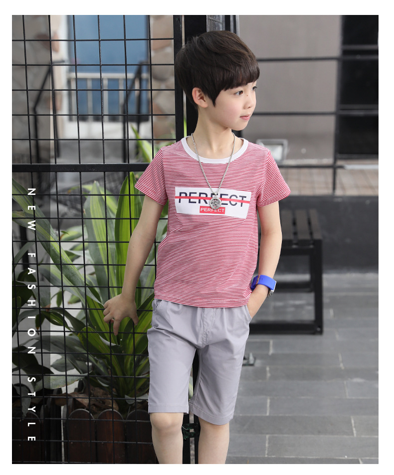 2018 Fashion Letter Striped Teen Boy Clothes Casual Sets Summer Short  Sleeve Clothing For 7 17Year Children Outfit Set-in Clothing Sets from  Mother & Kids ...