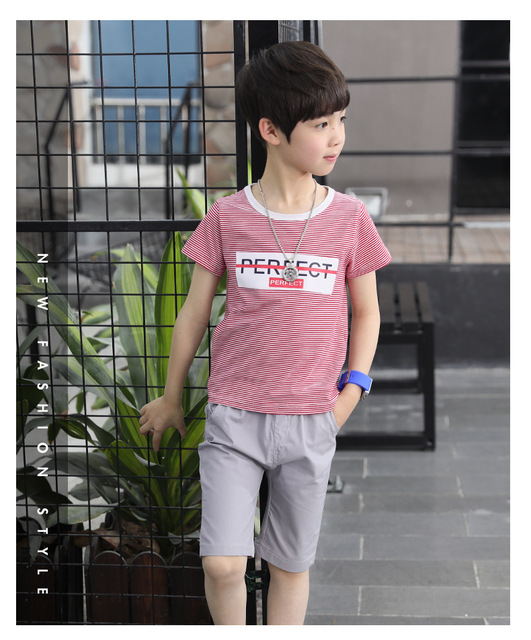 b58c599c0 2018 Fashion Letter Striped Teen Boy Clothes Casual Sets Summer Short  Sleeve Clothing For 7-