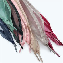 New 7 Color 4 cm Width Satin Silk Ribbon Shoelaces 80/100/120 Length  Sport Shoes lace lotus leaf edge shoelace princess