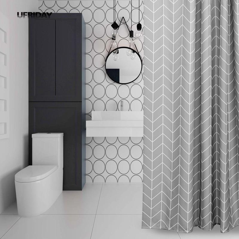 aliexpress : buy ufriday gray stripe design shower curtain polyester waterproof bath curtain