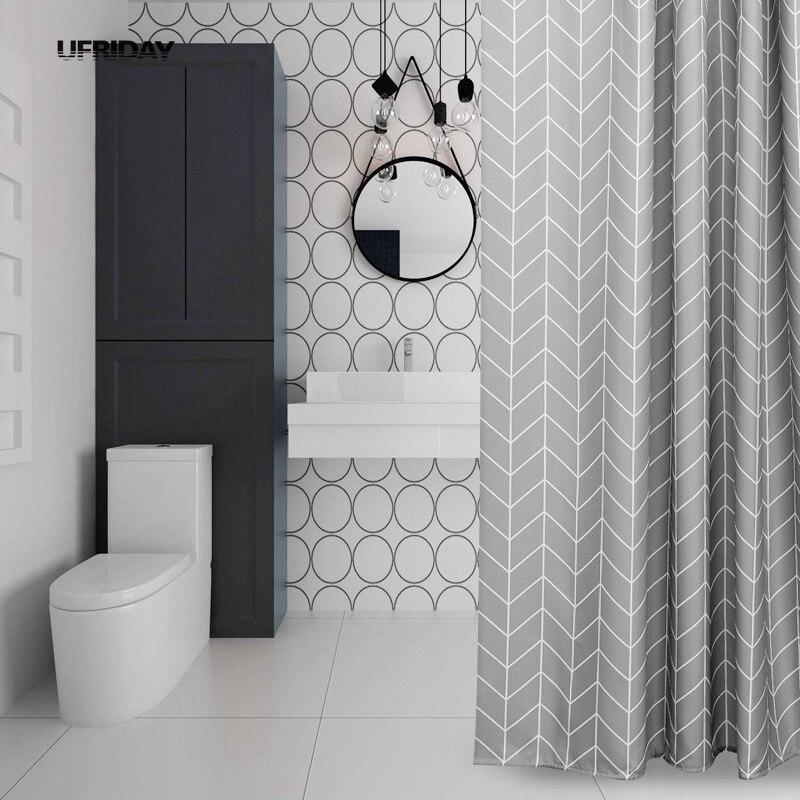 UFRIDAY Grigio Stripe Design Tenda Della Doccia Poliestere ...