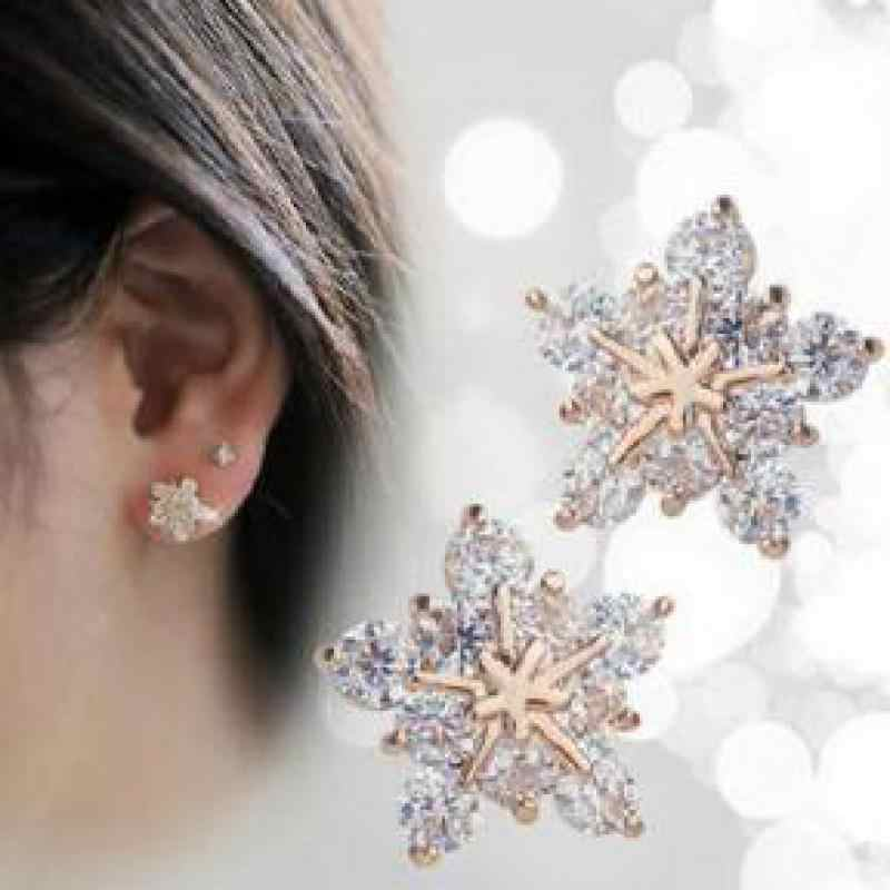 2018 Fashion Korean Cute Gold Tone Crystal Rhinestone Snowflake Ear Stud Earrings Jewelry For Women Xmas Gift Free Shipping