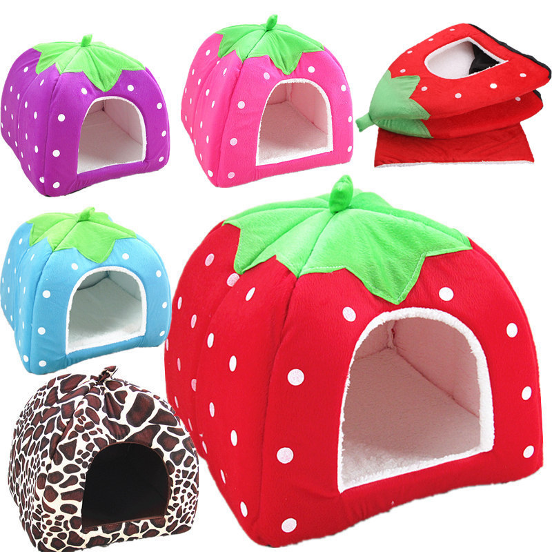 New Cute Lovely Puppy Cat Rabbit Guinea Pig Bed Kennel Nest Dog House Strawberry Foldable Soft High Quality Pet House