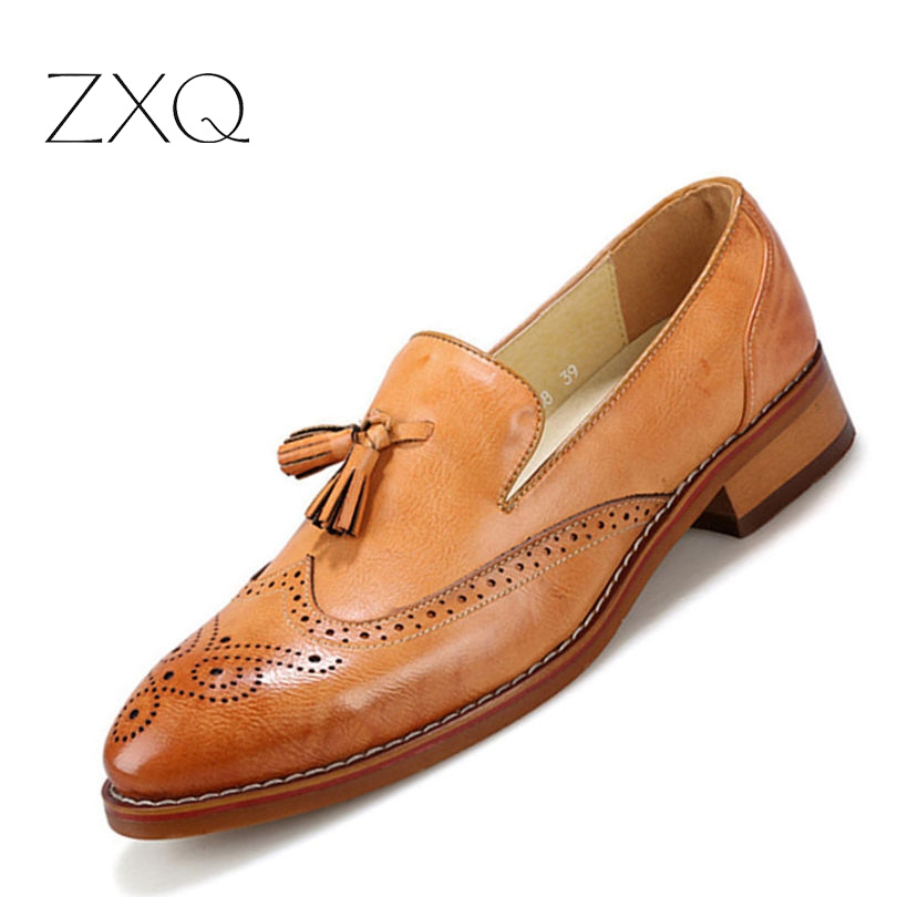 Fashion Men Brogues Men Shoes Moccasins Shoes Casual Men Shoes Flats Slip On Vintage Tassel Leather Shoes vintage genuine leather shoes men slip on brogues dress shoes size 38 43 chaussure homme quality wedding shoes for men flats f31
