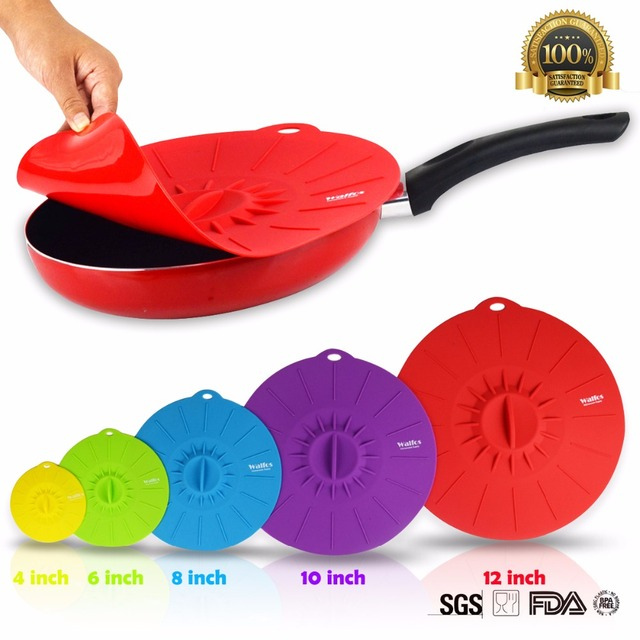 Set of 5 Silicone Cover Cooking Pot Lid Microwave Bowl Pan Lid Cover-Silicone Pot Lid Cooking Tools