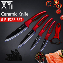 XYj Kitchen Knife Ceramic Knife Cooking Set 3″ 4″ 5″ 6″ inch + Peeler Beauty Blade Paring Fruit Vege Chef Knife Kitchen Tools