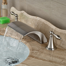 Brushed Nickel Bathroom Waterfall Deck Mounted Widespread Face Basin Mixer Faucet