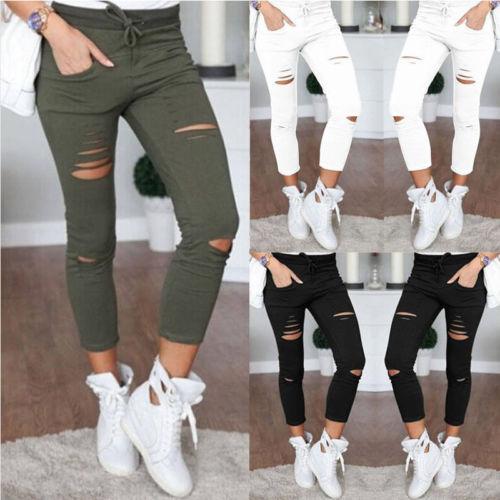 New Women Skinny Ripped Knee Hole Bandage Jeans Solid Ciolor Fahsion Pants High Waist Stretch Slim Innrech Market.com