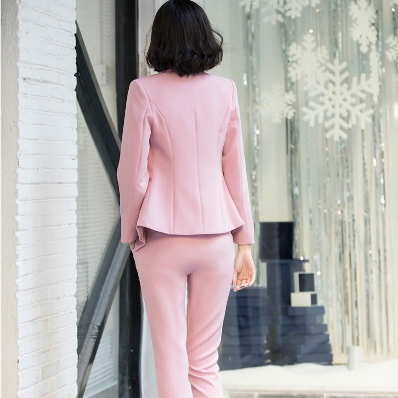 Di Formale Signore Giubbotti Tailleur Set Pantalone Pantaloni Giacche Rosa Pink Con Elegante Uniformi Size Plus Donne Abiti white Usura Per Le Lavoro Ufficio black Del E Delle 7TITrwdxq
