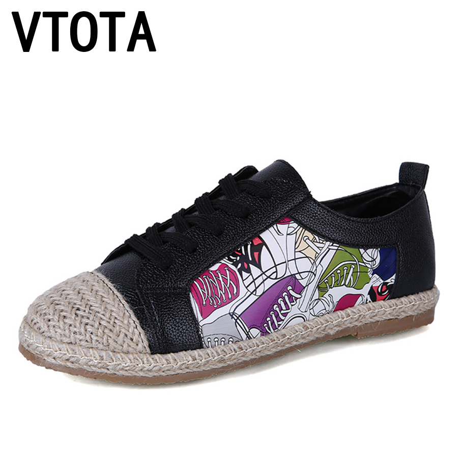 VTOTA Women Flat Shoes 2017 Zapatos Mujer Fashion tenis feminino Spring Lace Up Autumn Graffiti Casual Flats Shoes Woman C22 d bodhi кровать hongkong king