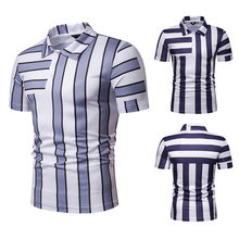 FuyBill New Summer Men's Short Sleeve Polo Men's Colour Stripe Slip Turn-collar Golf Clothing 2019 Breathable Sports Polo Shirt(China)