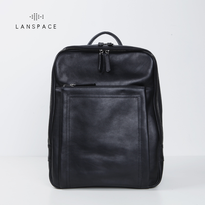 LANSPACE mens cow leather backpack fashion genuine leather backpack casual functional bagLANSPACE mens cow leather backpack fashion genuine leather backpack casual functional bag