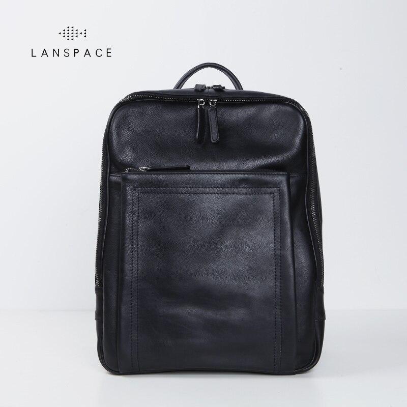 Lanspace Мужская Корова кожаный рюкзак модные натуральная кожа Рюкзак Повседневная Функциональная сумка