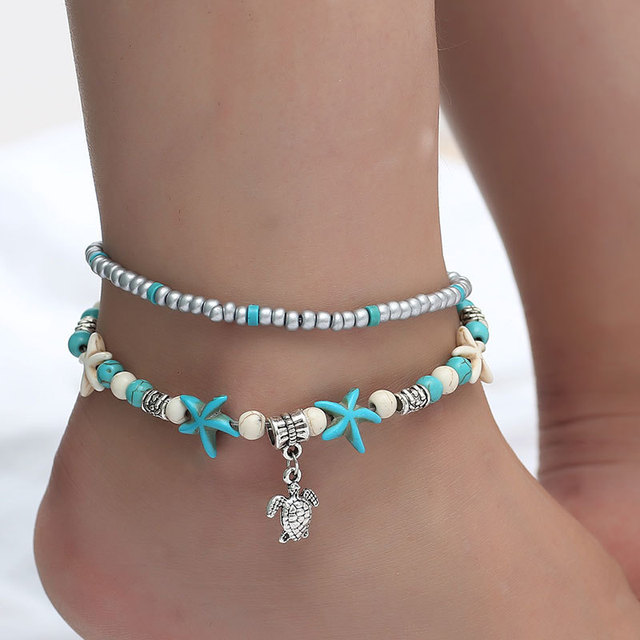 c0df98ce573 Vintage Boho Style Turquoises Starfish Sea Turtle Wave Pendant Anklets Women  Multi Layer Anklet Bracelet Handmade