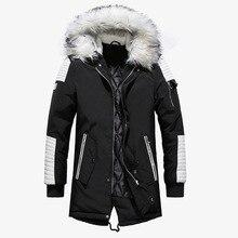 كبير الفراء الرجال الشتاء سترة الشارع الشهير طويل الخريف الشتاء معطف الرجال عادية الدافئة مقنعين سترات Hombre