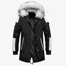 Grote Bont Mannen Winter Jas Streetwear Lange Herfst Winter Jas Mannen Casual Warm hooded Parka Hombre