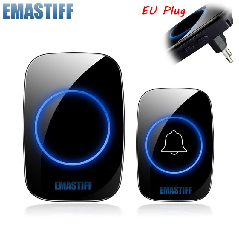 New Home Welcome Doorbell  Intelligent Wireless Doorbell Waterproof 300M Remote EU AU UK US Plug smart Door Bell Chime 1