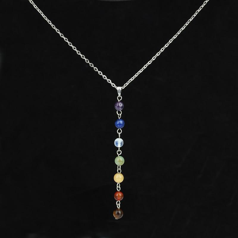 7 Rainbow Reiki Chakra Pendants Purple Bulk Opal Round Beads Natural Stone Necklaces Silver Chain Collier Femme Girls Jewelry