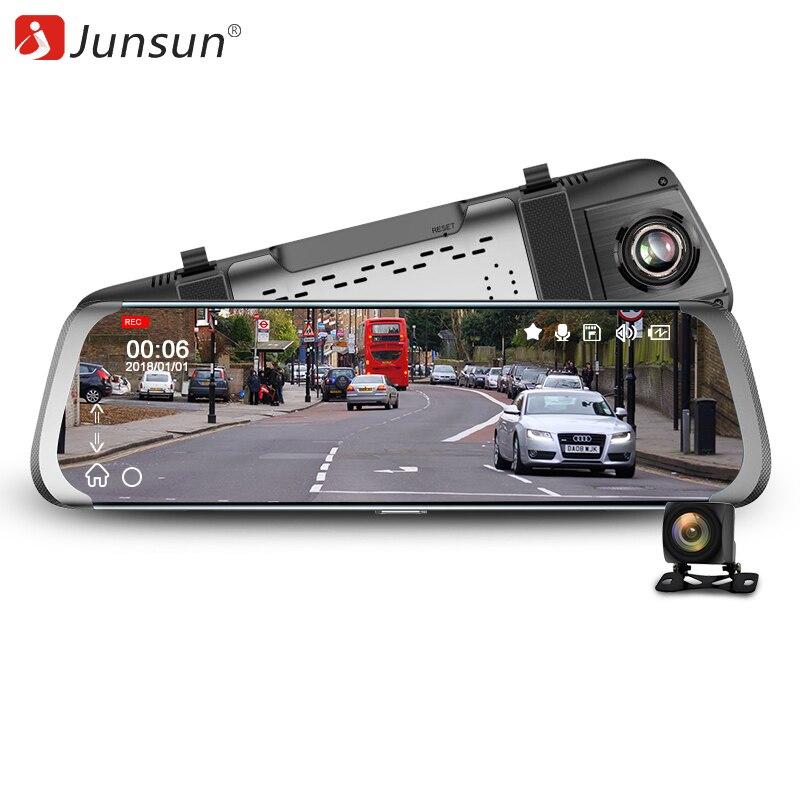 Junsun Car DVR 10 Touch screen Dual Lens Car Camera FHD 1080P Video Recorder Rearview Mirror