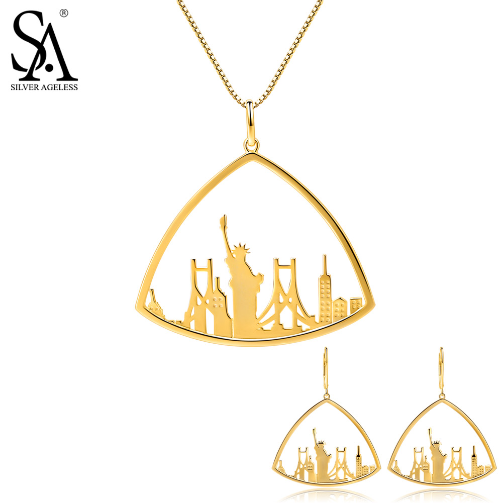 SILVER AGELESS 925 Sterling Silver Triangle Gold Color Plated Drop Earrings Pendant Necklace Jewelry Sets Woman 925 Silver Set triangle fringed paillette pendant necklace