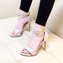 купить Women's Spring Fashion Pu Leather Word Buckle Black Ankle-Strap High Heels Lady Sandals Pumps Shoes Stilettos Platform CH-B0052 по цене 974.1 рублей