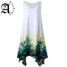 Ameision Women Summer Dress Sleeveless Vintage Floral Print Irregular Hem Female Dresses Plus Size S-5XL