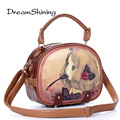 Dream Shining Korean Style Woman Handbag Cute Cartoon Pattern High Capacity Shoulder Bag PU Material Fashion Retro Messenger Bag