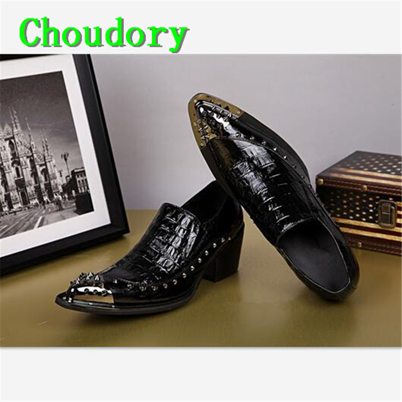 Choudory Height Increasing Leather Pointed Toe Mens Dress Brogue Shoes Rivet Slip-On Solid Low Steel Toe Work Shoes Men Casual