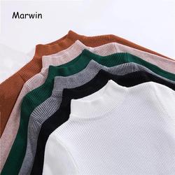 Marwin 2018 Новое поступление осень водолазка пуловеры свитера Грунтовка рубашка с длинным рукавом короткий корейский Тонкий облегающий свитер