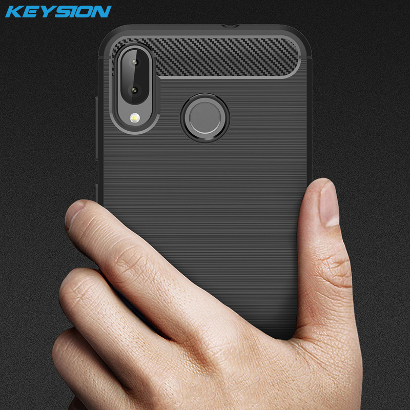 KEYSION Phone-Case ZB555KL Asus Zenfone Back-Cover Carbon-Fiber Anti-Knock Silicone