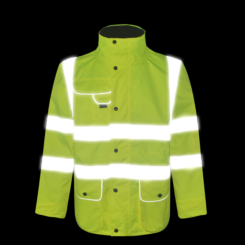 Mens Hi vis oxford reflective rain jacket work wear with multi-pockets Mens Hi vis oxford reflective rain jacket work wear with multi-pockets