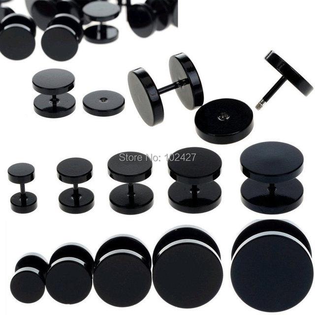 2 Pcs/Lot 6-14mm Black Fake Ear Plug Stud Stretcher Ear Tunnel Earring Piercing Stainless Steel Body Jewelry 18G