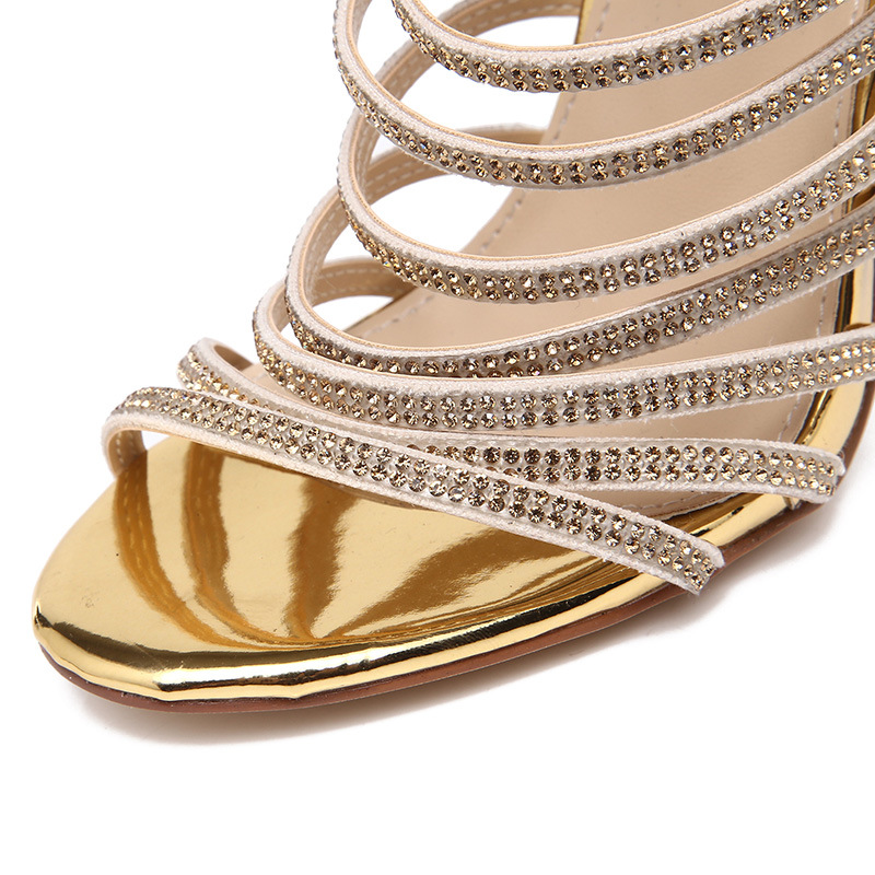 Gold Bling Bling Crystal Sandals High Heels Strappy Gladiator Sandal Shoes  Women Stiletto Heel Wedding Rhinestone Cage Pumps3258-in High Heels from  Shoes on ... 14b437f583bb