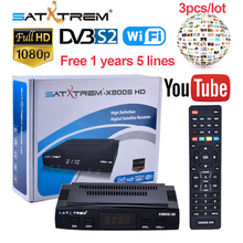 3pcs/lot X800S HD Receptor DVB-S2 Satellite TV Receiver+USB WIFI 1080P Decoder for 1Year Europe 5 Clines support YouTube,Youporn