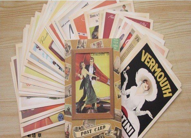 Nostalgic Old Ad Vintage posters postcards set / Greeting Cards/ gift cards Vintage Korean Stationery wholesale